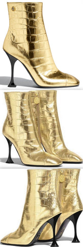 Crocodile Embossed Metallic Calfskin Leather Boots | DESIGNER INSPIRED FASHIONS