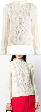 Embellished Cable Knit Wool Turtleneck In White | DESIGNER INSPIRED FASHIONS