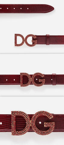 Belt in Iguana Print Calfskin, Red | DESIGNER INSPIRED FASHIONS