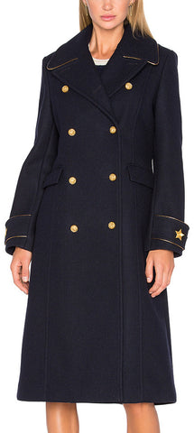 Double-Breasted Star-Embroidered Military Coat, Deep Blue | DESIGNER INSPIRED FASHIONS
