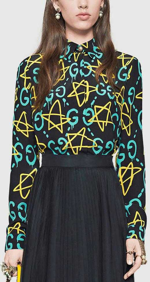 5716f467 'GG Ghost' and Star Print Logo Shirt - DESIGNER INSPIRED FASHIONS. '
