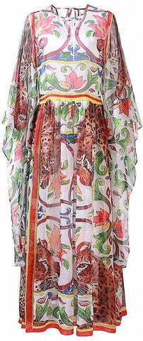 'Majolica' Print Chiffon Maxi Dress