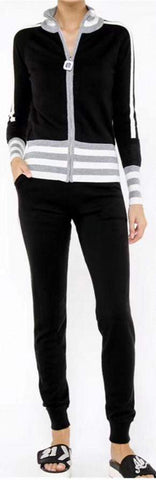Stripe Contrast Zip Sweater and Pant Set, Black | DESIGNER INSPIRED FASHIONS