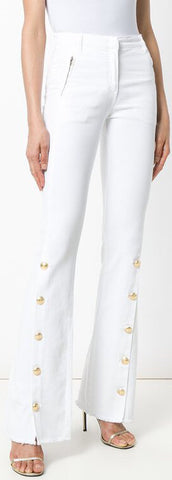 Button-Embellished Frayed Flared Pants