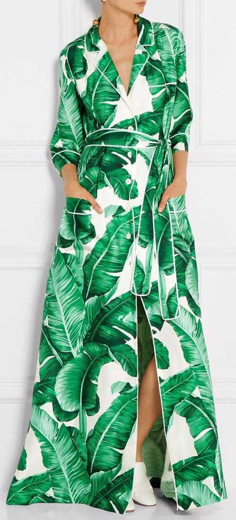 Banana Leaf Print Long Robe Dress - DESIGNER INSPIRED FASHIONS