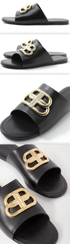'BB' Oval Mule Sandals, Black