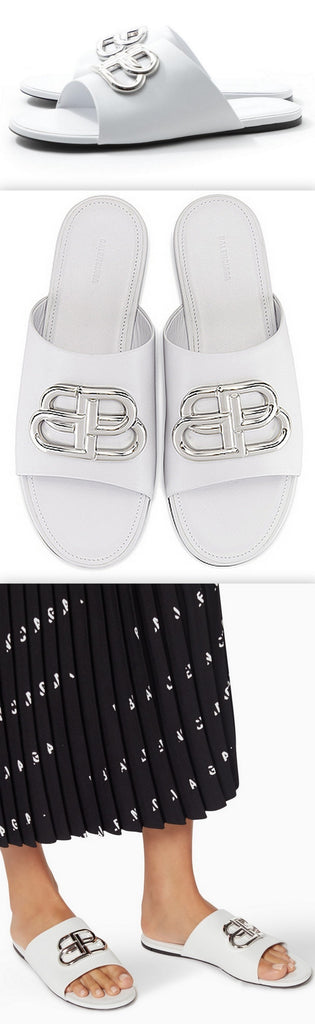 'BB' Oval Mule Sandals, White