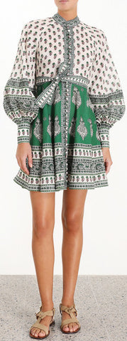 'Amari' Emerald Buttoned Dress in Green Paisley | DESIGNER INSPIRED FASHIONS