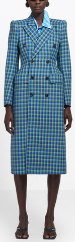 Hourglass Double-Breasted Checked Wool Coat, Blue | DESIGNER INSPIRED FASHIONS