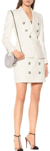 Double-Breasted Jacket and Skirt Set, White
