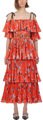 Pleated Botanical Printed Midi Dress