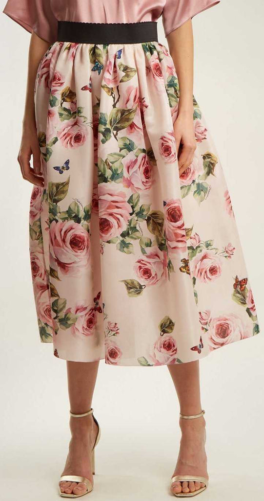 902b980acecc Rose and Butterfly-Print Silk-Organza Skirt – DESIGNER INSPIRED FASHIONS