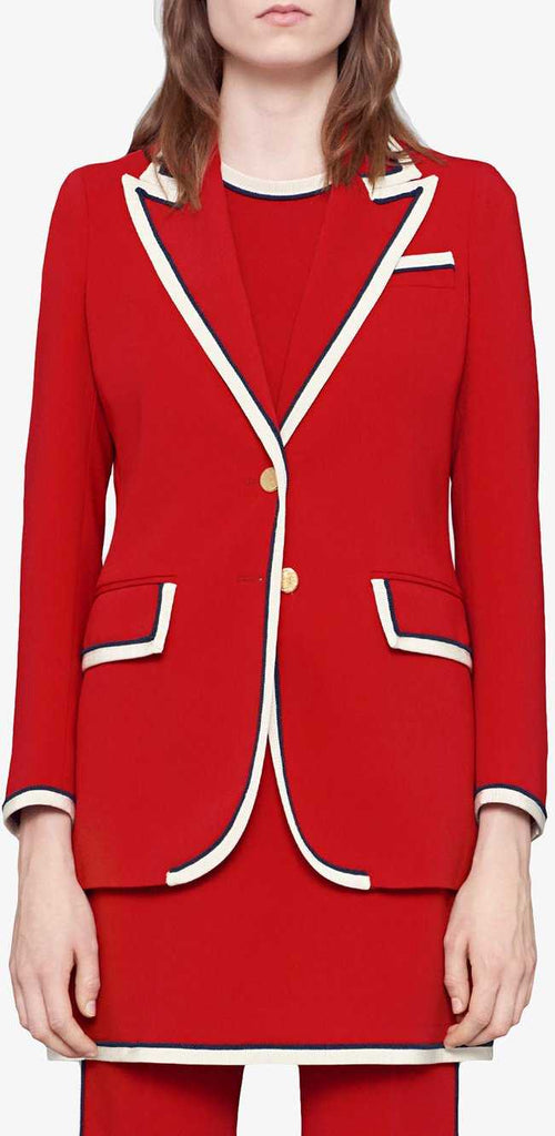 Contrast Blazer in Red | DESIGNER INSPIRED FASHIONS