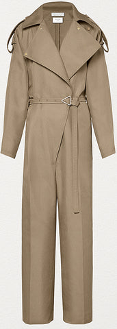 Jumpsuit in Compact Cotton, Beige