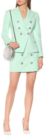 Double-Breasted Jacket and Skirt Set, Mint Green