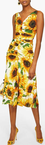 Sunflower-Print Gathered Midi Dress | DESIGNER INSPIRED FASHIONS