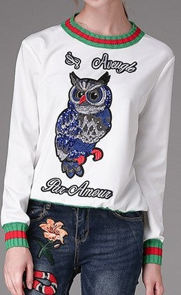 'L'aveugle Par Amour' Embroidered Owl Sweatshirt in White - DESIGNER INSPIRED FASHIONS