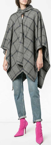 Windowpane Check Poncho