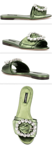'Bianca' Buckled Slides, Green