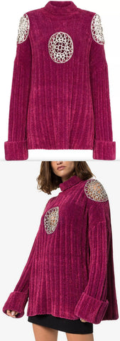 Embellished Cut-Out Turtleneck Sweater | DESIGNER INSPIRED FASHIONS