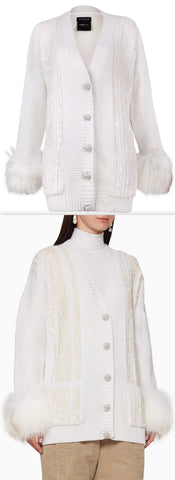 Sequin Embellished Cable Fur Cuff Cardigan | DESIGNER INSPIRED FASHIONS