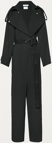 Jumpsuit in Compact Cotton, Black