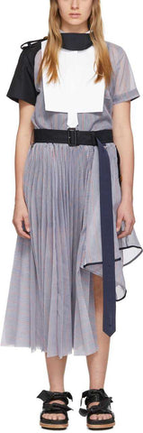 Blue Striped Organza Dress