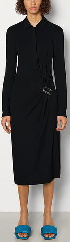 Shirt-Dress in Draped Crepe Jersey, Black