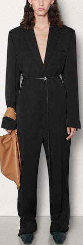 Tailored Jumpsuit in Grain de Poudre