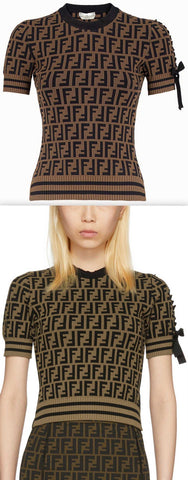 Brown & Black All Over Logo Knit Top