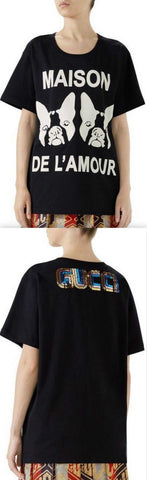 'Maison De Lamour' T-shirt with Bosco and Orso, Black