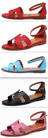 'Santorini' Sandals - Red, Light Blue,Black, Pink