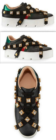 Leather Platform Sneakers with Detachable Jeweled Straps | DESIGNER INSPIRED FASHIONS