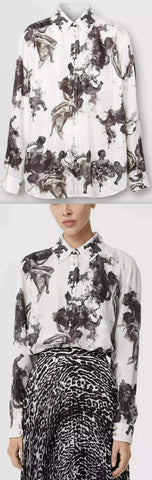 Angel Print Silk Twill Shirt | DESIGNER INSPIRED FASHIONS