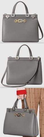Zumi Grainy Leather Medium Top Handle Bag, Dusty Grey | DESIGNER INSPIRED FASHIONS