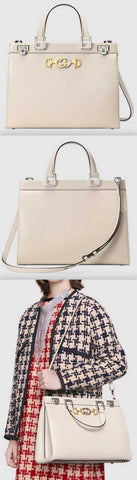 Zumi Grainy Leather Medium Top Handle Bag, White | DESIGNER INSPIRED FASHIONS