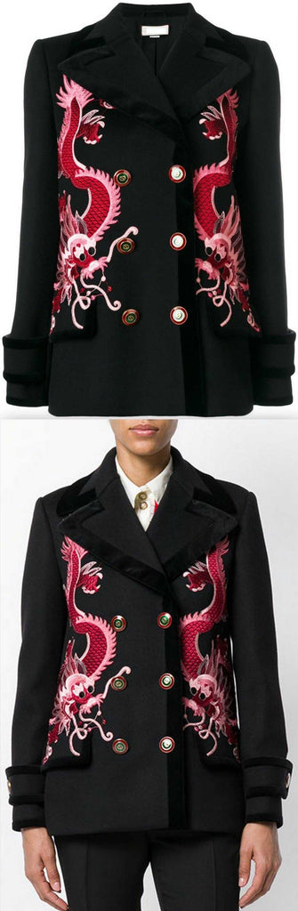 Dragon-Embroidered Short Wool Coat
