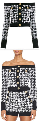 Off-the-Shoulder Houndstooth Top | DESIGNER INSPIRED FASHIONS