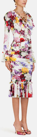 Printed Charmeuse Midi Dress with Ruches *Limited Stock* | DESIGNER INSPIRED FASHIONS
