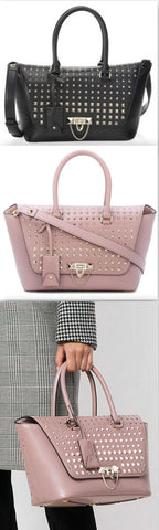 Demilune Small Double Handle Rockstud Satchel - Black or Pale Pink