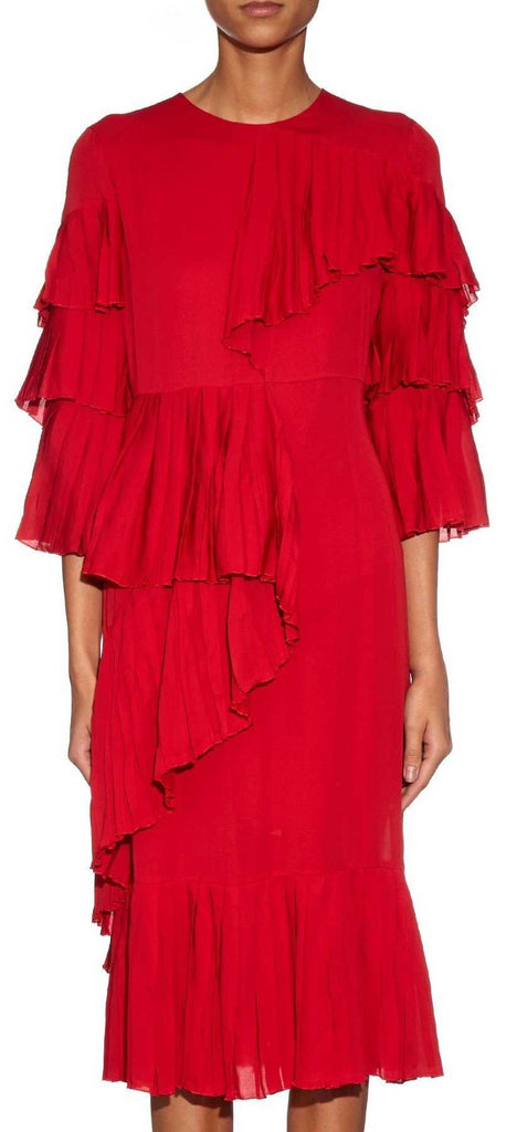 Georgette Ruffle Pleated Dress in Red - DESIGNER INSPIRED FASHIONS