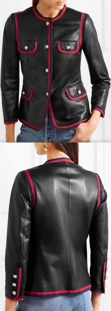 Black Napa Leather Jacket with Web Trim