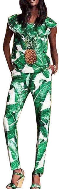 Banana Leaf Pineapple-Embellished Ruffle Top & Pant Set - DESIGNER INSPIRED FASHIONS
