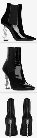 'Opyum' Booties in Black Patent Leather | DESIGNER INSPIRED FASHIONS