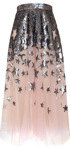 Sequined Star Gauze Skirt