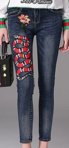 Embroidered Denim Jeans | DESIGNER INSPIRED FASHIONS