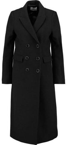 'Margalite' Double-Breasted Wool Blend Coat in Black - DESIGNER INSPIRED FASHIONS