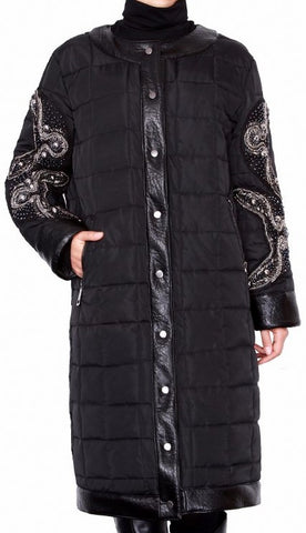 Black Embellished Sleeve Padded Coat | DESIGNER INSPIRED FASHIONS