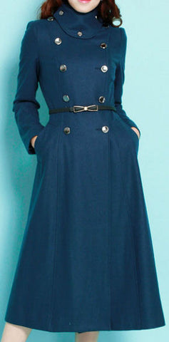 Long Alpaca Wool Pea Coat in Blue | DESIGNER INSPIRED FASHIONS