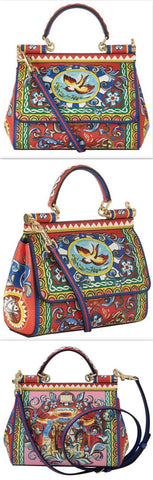 'Carretto Sicily' Print Top Handle Bag - DESIGNER INSPIRED FASHIONS